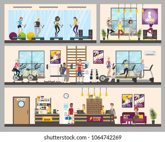 Gym rooms interior. People doing fitness, yoga and weight lifting.