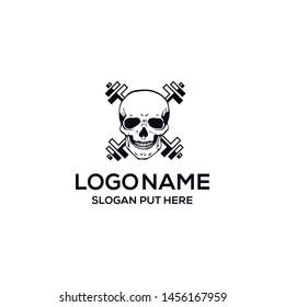 Gym skull logo design template
