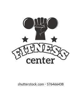 Gym sport club fitness emblem vector illustration.