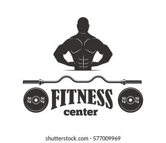 Gym sport club fitness emblem vector illustration.