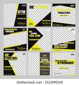 Gym Sport Fitness social media post design template Premium Vector