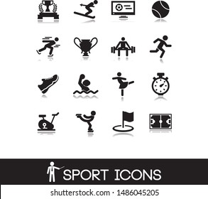 Gym and sport icons set. Icon competition of baseball, bowling, football, tennis, basketball, soccer . Pictograms vector illustration.