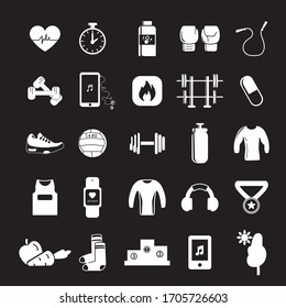 Gym and sport items. Sports object icons. Solid icons. Black background.