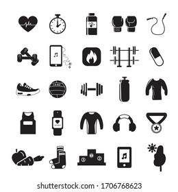 Gym and sport items. Sports object icons. Solid icons.