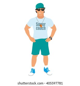 Gym Teacher, Coach Fitness Instructor or Trainer. vector