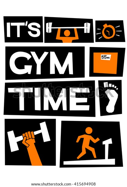 Gym Time Motivational Gym Poster Vector Stock Vector