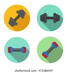 Gym, training, dumbbell icons in flat style