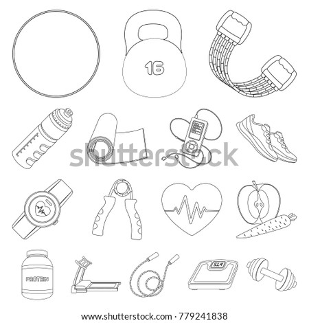 Gym Training Outline Icons Set Collection Stock Vector Royalty Free