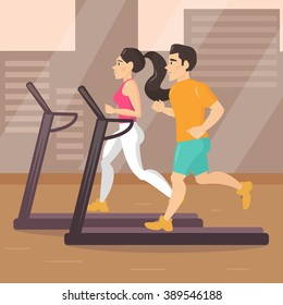 Gym, treadmill. Man and a woman at the gym. Treadmill. Vector isolated illustration. Cartoon character.  Sports, exercises