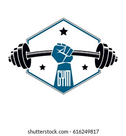 Gym weightlifting and fitness sport club logo, retro stylized vector emblem or badge. With barbell and strong hand fist.