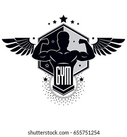Gym weightlifting and fitness sport club logo, vintage style vector emblem with wings. With sportsman silhouette.