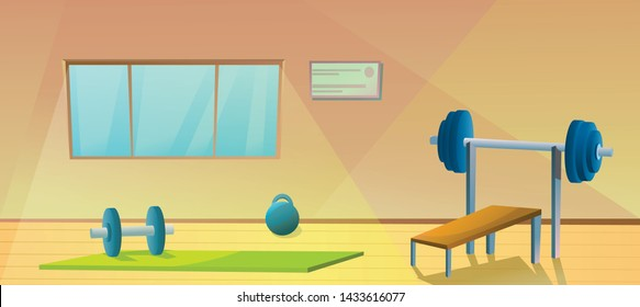 Gym with window.  Sport interior with barbells. Healthy gymnastic. Fitness room. Vector