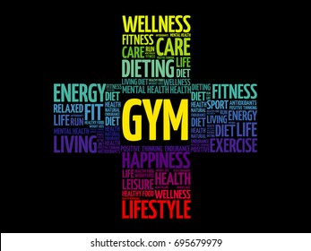 Gym word cloud collage, health cross concept