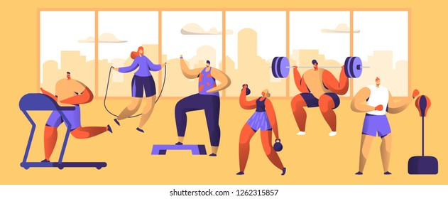 Gym Workout Character Set. Sport Cardio Fitness Man and Woman Figure Collection. Healthy Aerobic Weightlifter, Boxer Exercise with Dumbell. Flat Vector Illustration