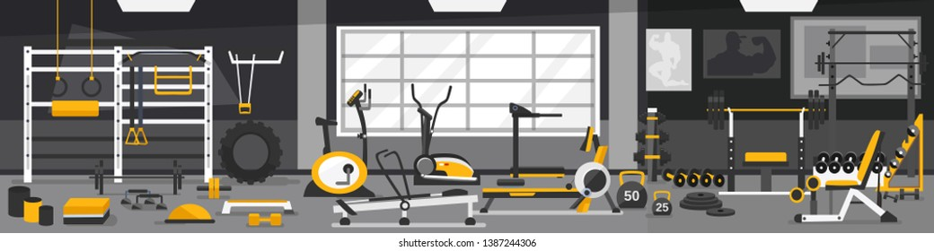 Gym zoning concept. Gym of fitness center interior design with crossfit, weights equipment and Elliptical Machine Cross Trainer, Treadmill, Rowing Machine and Bike. Vector Gym Equipment set.