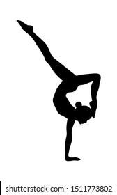 Gymnast black and white vector silhouette. Female yoga pose isolated on white background. Scorpion yoga pose. Vrishchikasana asana.