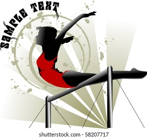 Gymnast in the form of red performs an exercise on the bar;