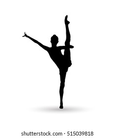 Gymnast Girl silhouette isolated on white background. Gymnastics banner. Olympic Gymnast woman. Vector ballet, ballet dancer, dancer, ballerina silhouette, fairy, fitness, gym gymnasium, yoga. Sport