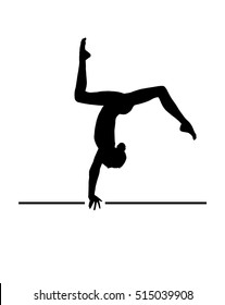 Gymnast Girl silhouette isolated on white background. Gymnastics young woman banner. Vector Dance. Dancer. Olympic athlete Gymnastics, gymnastics floor, equipment school, swimming pool, fitness sports