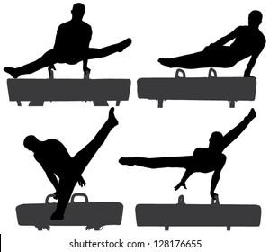 Gymnast on Pommel Horse Silhouette on white background