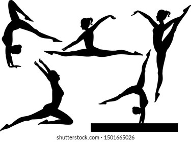 Gymnast vector collection, exercising silhouette bundle