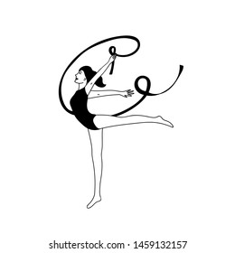 Gymnast woman lithe build with ribbon silhouette on white background.