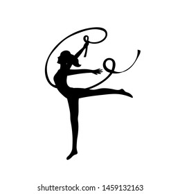 Gymnast woman lithe build with ribbon black silhouette on white background.