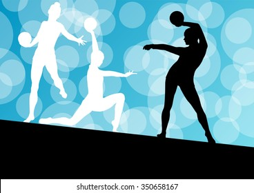 Gymnast women with ball vector abstract circle background concept