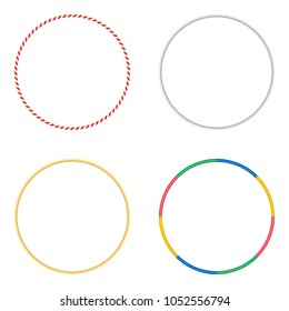 Gymnastic hoops. Set of vector illustrations isolated on white. Sports Hula Hoop for gymnastics. Concept of activity and healthy lifestyle. Colored plastic, gold and silver  fitness equipment.