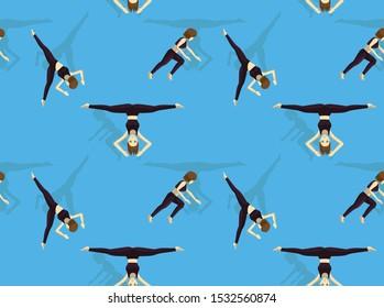 Gymnastic Move Set Aerial Cartwheel Cartoon Seamless Background Wallpaper-01