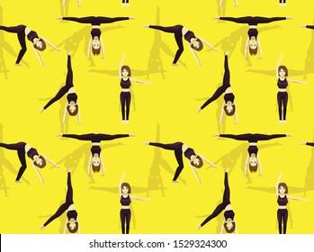 Gymnastic Move Set Cartwheel Cartoon Seamless Background Wallpaper-01