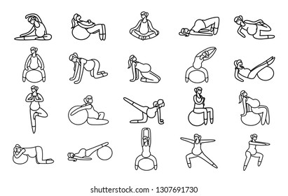 Gymnastic for pregnant icon set. Set of 20 Yoga poses for Pregnant women. Prenatal exercise. Fitness healthy lifestyle. Vector illustration.