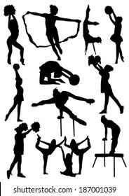 Gymnastic silhouettes set