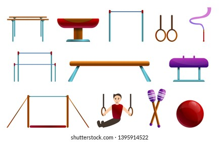 Gymnastics equipment icons set. Cartoon set of gymnastics equipment vector icons for web design