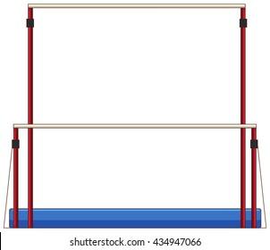Gymnastics equipment uneven bars illustration