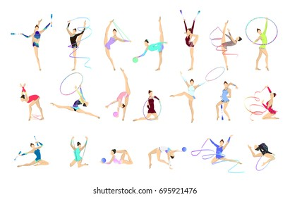 Gymnastics illustrations set. Women in outfit with gymnastic equipment as ball and tape.