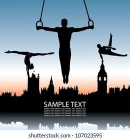 Gymnastics and London skyline - vector illustration