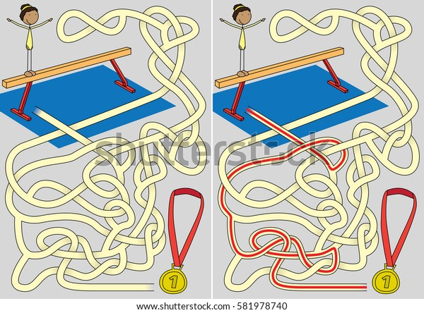 Gymnastics maze for kids with a solution