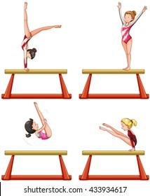 Gymnastics players on balance beam illustration
