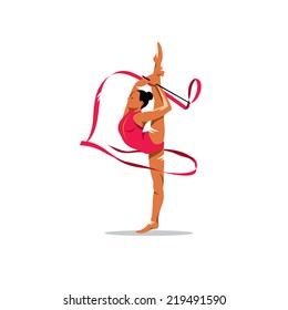 Gymnastics with ribbon Branding Identity Corporate vector logo design template Isolated on a white background