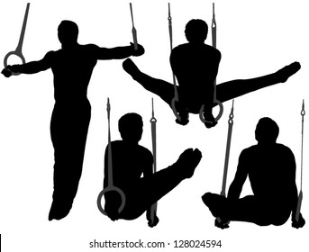 Gymnastics Rings Silhouette on white background