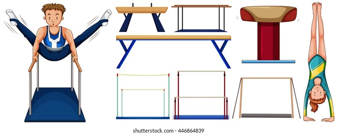 Gymnastics set with athletes and equipments illustration