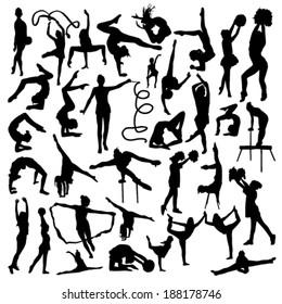 Gymnastics silhouettes set