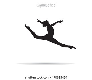 Gymnastics Young gymnast woman. Silhouette gymnast girl jumping, isolated on white. Hand Drawn. Gym. Flat design. Rhythmic gymnastics, trampolining, acrobatic, aerobic gymnastics International Rio2018
