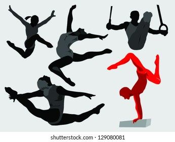 gymnastics,gymnastics silhouette on the light background