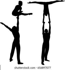Gymnasts acrobats black silhouette isolated on white background