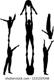 Gymnasts acrobats vector black silhouette