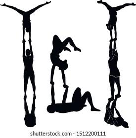 Gymnasts acrobats vector black silhouette
