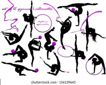 Gymnast's silhouettes
