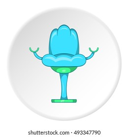 Gynecological chair icon in cartoon style isolated on white circle background. Gynecology symbol vector illustration